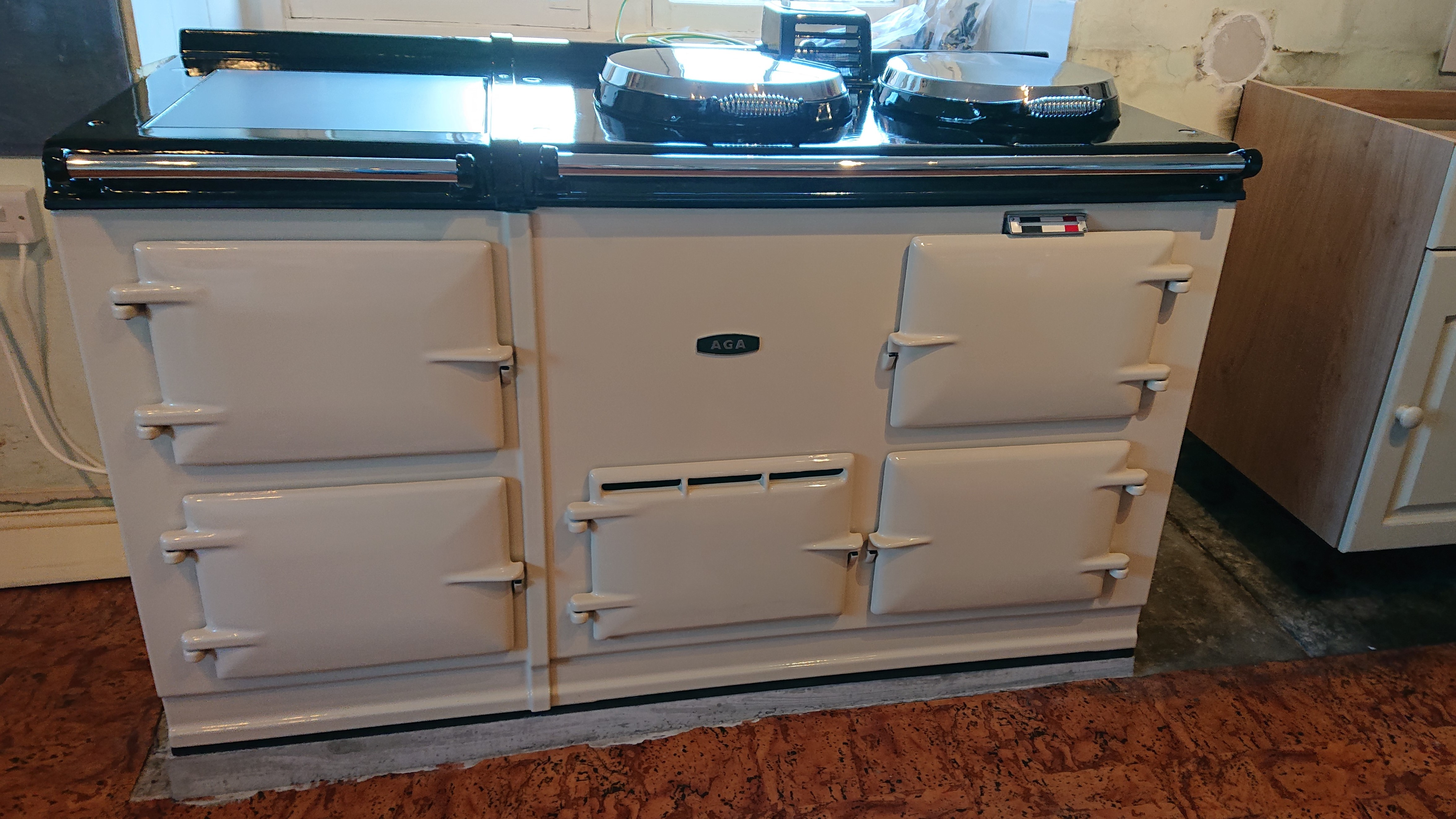 <p>4 Oven Post 74 Aga Re-enamelled in Cream, Electric</p><p>Installed in The Mendips, Somerset</p>