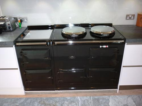 4 Oven Post-1974 Aga Cooker Re-Enameled in Pewter 13 Amp Electric installed in Salisbury