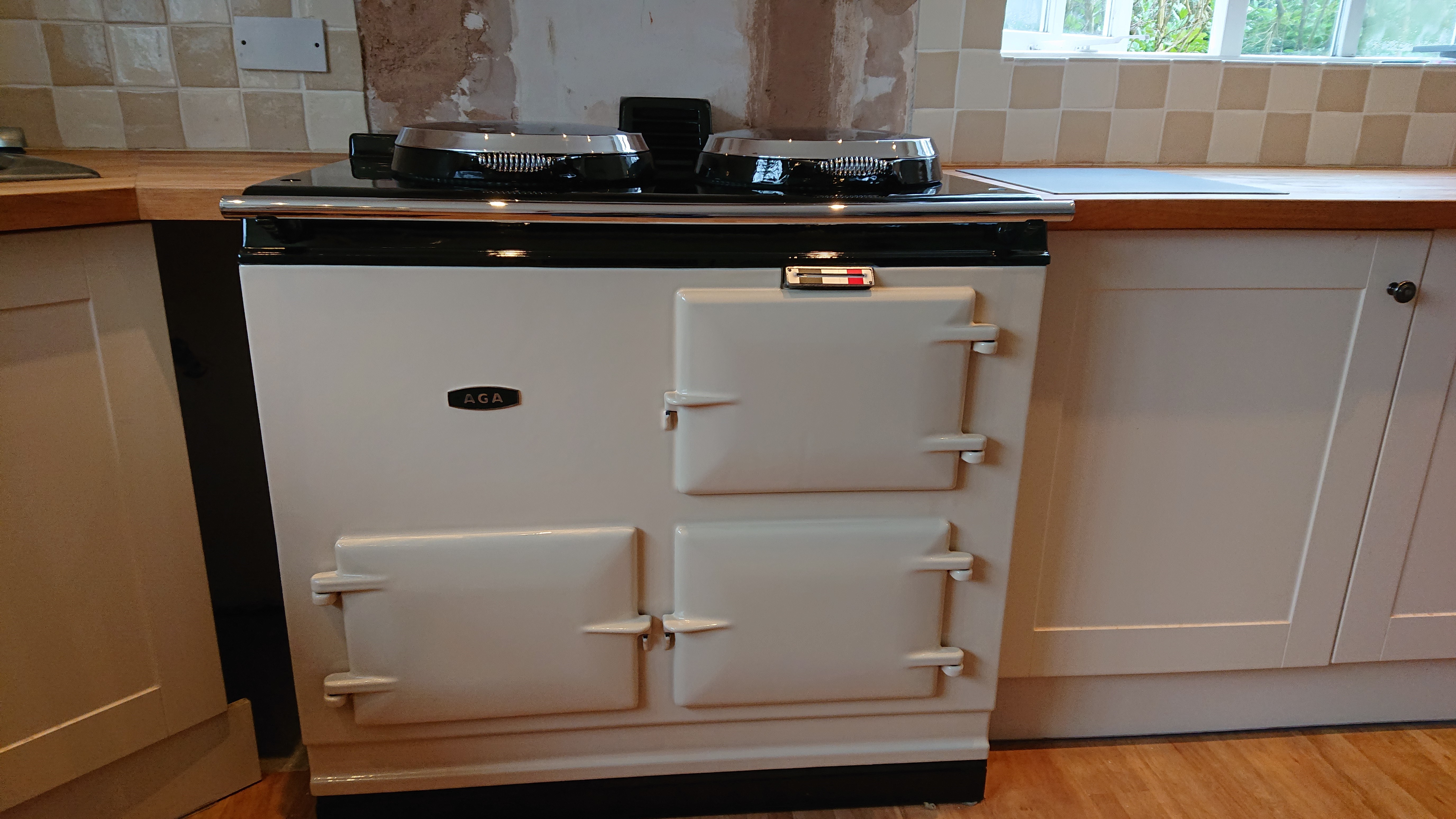 <p>2 Oven Pre 74 Aga Re-enamelled in Cream running on Electric</p><p>Installed in Ashmore, Dorset