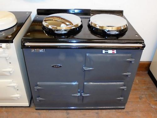 2 Oven Post 74 Aga Cooker<br>Fully reconditioned<br><br>Re-Enamelled in Supreme Grey<br><br>Electric <br><br>Installed in a 50 mile radius with 2 years Guarantee.<br>Extra charge for over 50 miles<br>